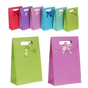 Pure Colored Paper Bags with Ribbon Decoration