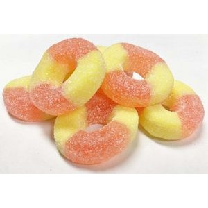 150g Peach Rings with Full Color Label